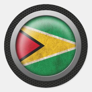 Steel Mesh Guyana Flag Disc Graphic Classic Round Sticker
