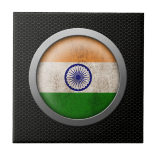 Steel Mesh Indian Flag Disc Graphic Small Square Tile