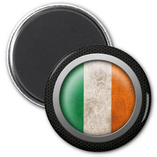 Steel Mesh Irish Flag Disc Graphic Refrigerator Magnet