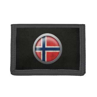 Steel Mesh Norwegian Flag Disc Graphic Trifold Wallets