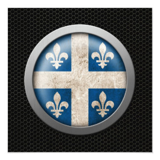 Steel Mesh Quebecois Flag Disc Graphic 5.25x5.25 Square Paper Invitation Card