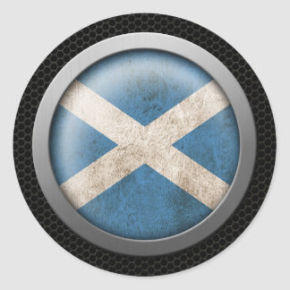 Steel Mesh Scottish Flag Disc Graphic Classic Round Sticker