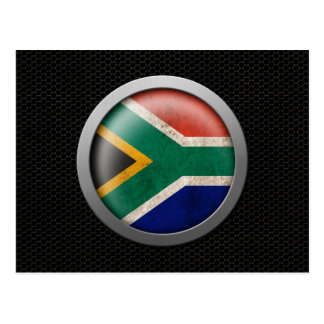 Steel Mesh South African Flag Disc Graphic Postcard
