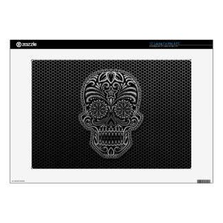 Steel Mesh Sugar Skull Decals For Laptops