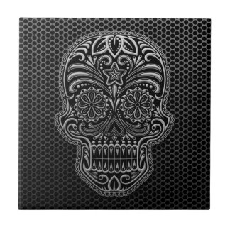 Steel Mesh Sugar Skull Small Square Tile