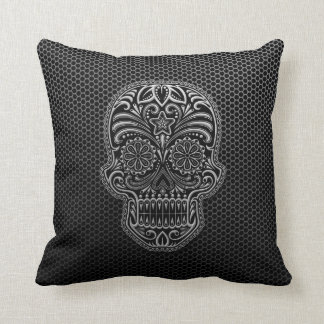 Steel Mesh Sugar Skull Throw Pillow