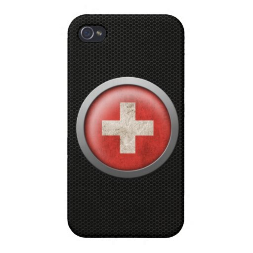 Steel Mesh Swiss Flag Disc Graphic Covers For iPhone 4