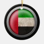 Steel Mesh United Arab Emirates Flag Disc Graphic Christmas Tree Ornament