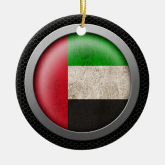 Steel Mesh United Arab Emirates Flag Disc Graphic Double-Sided Ceramic Round Christmas Ornament