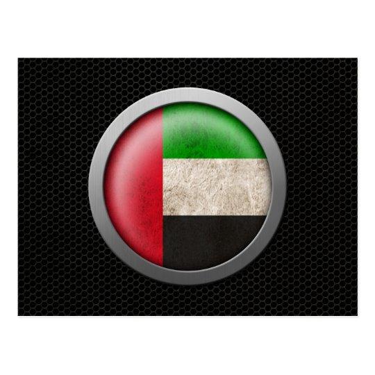 Steel Mesh United Arab Emirates Flag Disc Graphic Postcard