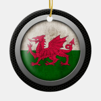 Steel Mesh Welsh Flag Disc Graphic Double-Sided Ceramic Round Christmas Ornament