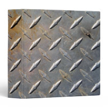 Steel metal diamond pattern grey and rusty 3 ring binder