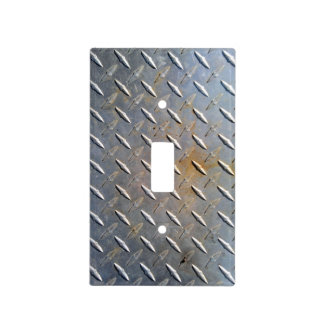 Steel metal diamond pattern grey and rusty light switch cover