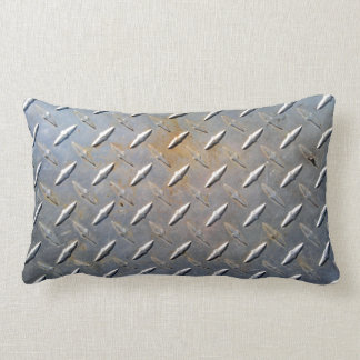 Steel metal diamond pattern grey and rusty lumbar pillow