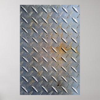 Steel metal diamond pattern grey and rusty poster
