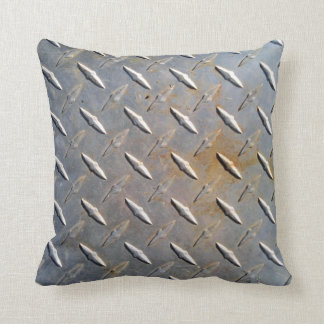 Steel metal diamond pattern grey and rusty throw pillow