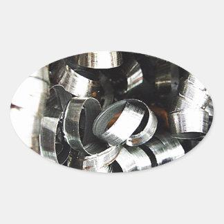 Steel Metal Glossy Fine Digital Art Beautiful Ligh Oval Sticker