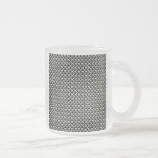 Steel Metal Mesh Pattern (faux) Frosted Glass Coffee Mug