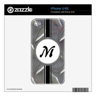 Steel Metal Monogram Pattern iPhone 4 Decal