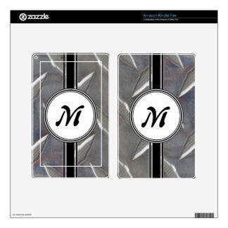 Steel Metal Monogram Pattern Kindle Fire Decals