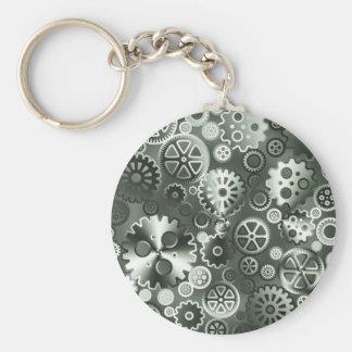 Steel metallic gears keychain