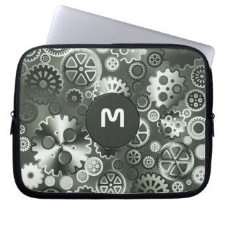 Steel metallic gears laptop sleeve