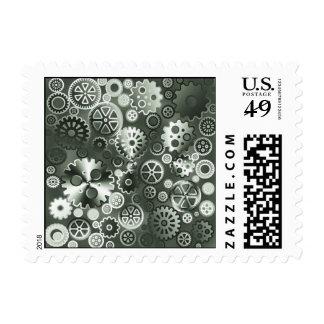Steel metallic gears postage stamps