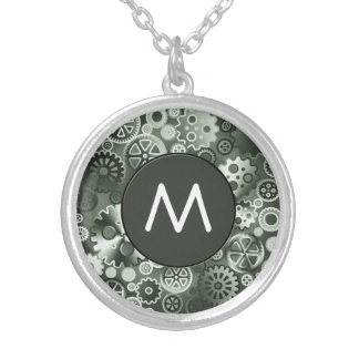 Steel metallic gears silver plated necklace