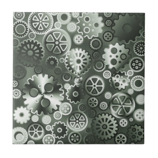 Steel metallic gears tile
