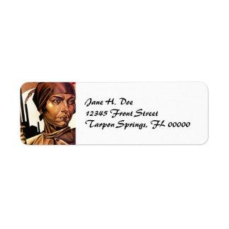 Steel Mill Woman Deco Style Return Address Label