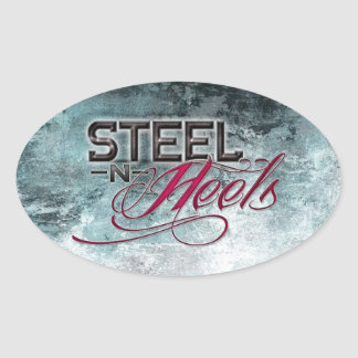Steel N Heels Blue Oval Sticker