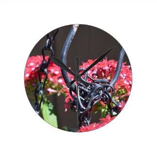 STEEL on FLOWER Round Clocks