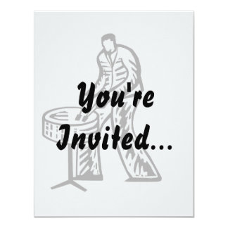 Steel Pan Player outline 4.25x5.5 Paper Invitation Card