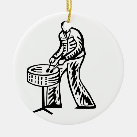 Steel Pan Player outline Ceramic Ornament