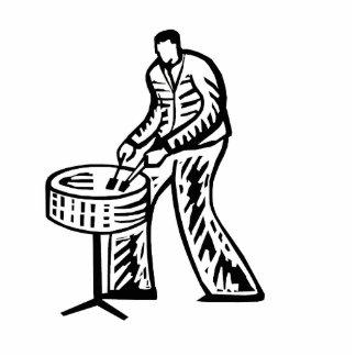 Steel Pan Player outline Standing Photo Sculpture