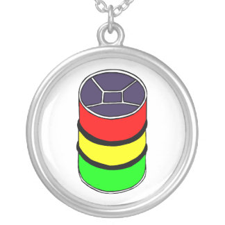 Steel Pan Rasta colors Steel Drum Design Graphic Silver Plated Necklace