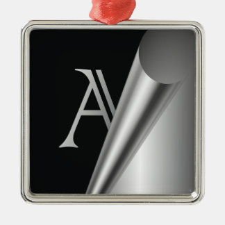 "Steel Peel Monogram ""A"" Metal Ornament"