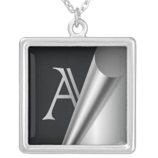 """Steel Peel Monogram """"A"""" Silver Plated Necklace"""