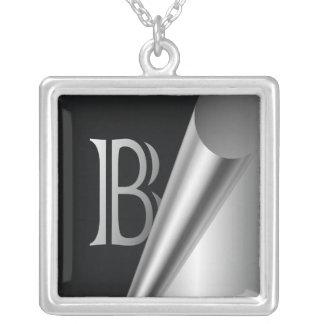 "Steel Peel Monogram ""B"" Silver Plated Necklace"