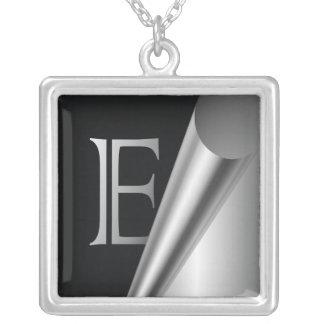 "Steel Peel Monogram ""E"" Square Pendant Necklace"