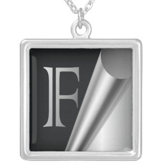 "Steel Peel Monogram ""F"" Silver Plated Necklace"