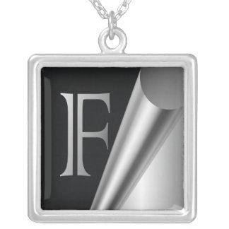 "Steel Peel Monogram ""F"" Square Pendant Necklace"