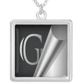 "Steel Peel Monogram ""G"" Silver Plated Necklace"