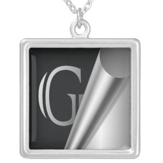 "Steel Peel Monogram ""G"" Square Pendant Necklace"