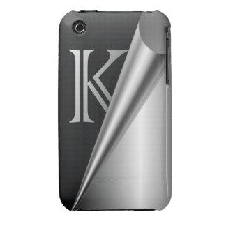 "Steel Peel Monogram ""K"" Case-Mate iPhone 3 Case"
