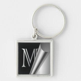 """Steel Peel Monogram """"M"""" Keychain"""