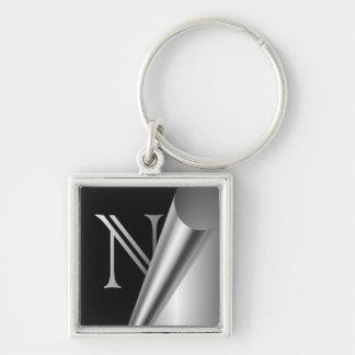 """Steel Peel Monogram """"N"""" Keychain"""