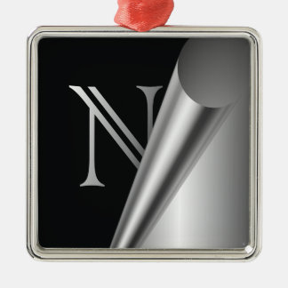 "Steel Peel Monogram ""N"" Metal Ornament"