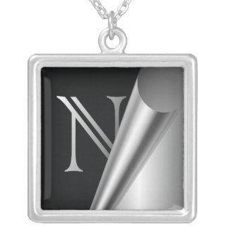 "Steel Peel Monogram ""N"" Square Pendant Necklace"