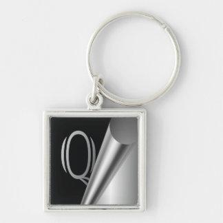 """Steel Peel Monogram """"Q"""" Keychain"""